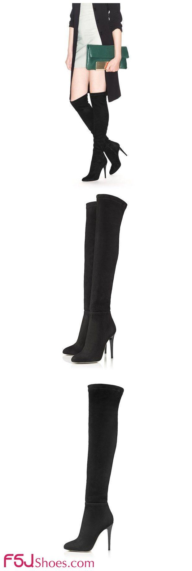 #FSJShoes #FSJ ファンション スティレットヒール 尖ったつま先 セクシーなサイハイブーツ 美脚 美しい長いブーツ 黒靴