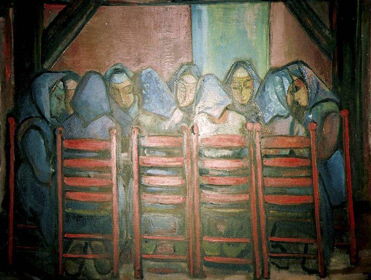 """Stien Eelsingh. """"Begrafenismaal"""", olieverf op doek, 1950"""