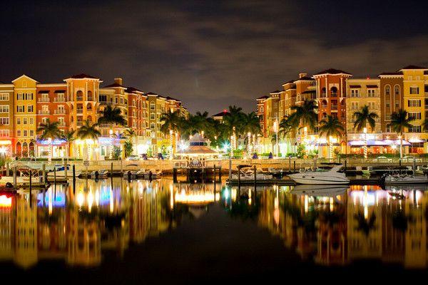 Bayfront area night photo in Naples Florida
