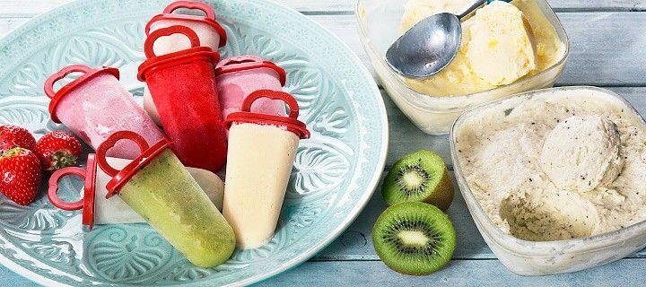 Lees hier alles over zelf schepijs of ijslollies maken met verse ingrediënten zoals aardbeien, banaan, yoghurt, kokos en munt