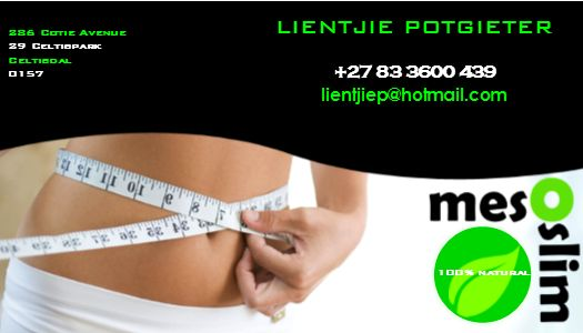 Want to become a distributor for Mesoslim? Contact me today for prices and product information.   Visit on www.facebook.com/mesoslimcenturion