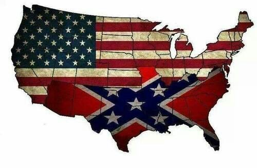 confederate and american flag