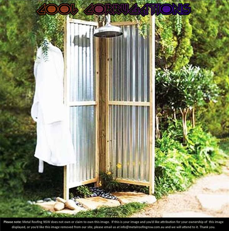 Cool Corrugations: Metal Roof Sheeting Decorator Ideas: Simple and stylish garden shower screen  #MRNSW