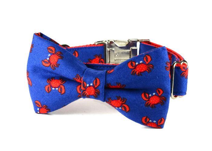 Red Crab Bow Tie Dog by: Bone And Bow Tie www.boneandbowtie.com (bow tie dog collar, dog bow tie collar, preppy dog collar, nautical dog collar, summer dog collar, bow tie for dog)
