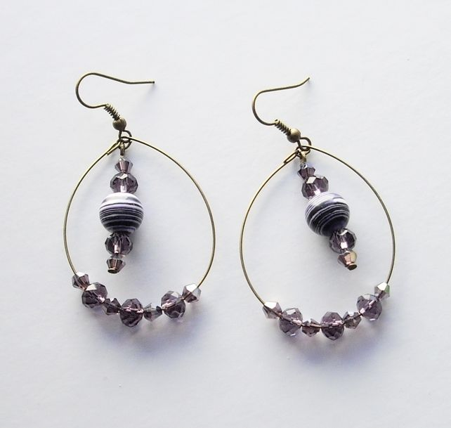 Purple and White Gemstone Bead and Bronze Plated Hoop Earrings £3.50