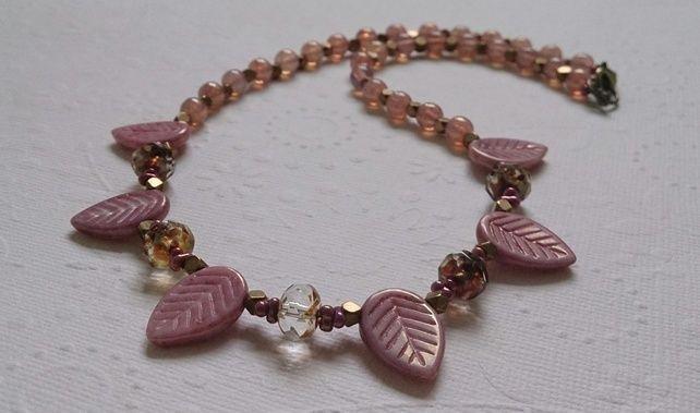 pink leaf short necklace £20.00