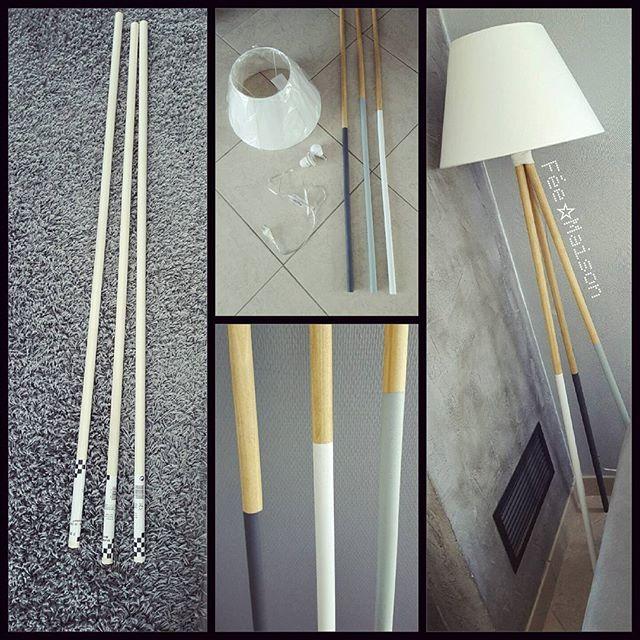 """Nouveau DIY LampeAprès ma lampe """"manches à balai"""", j'ai voulu tester un petit DIY Lampe avec des tringles à rideau en bois (un peu plus fine que le manche à balai) et voici mon petit résultat  A vous de jouer maintenant   #diy #doityourself #cmoiquilaifait #lampe #trepied #bois #bla C #gris #madecoamoi #home #mycocooninghome #decoaddict"""