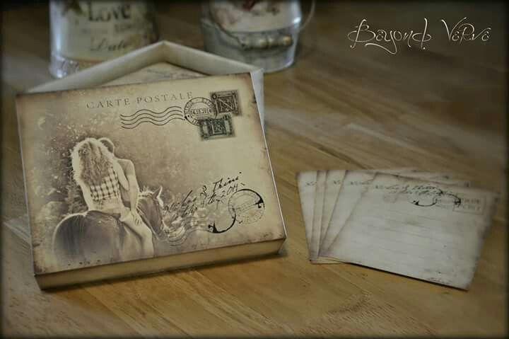 Vintage couple card box wish cards - Wedding stationery