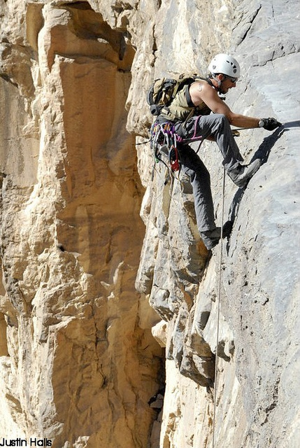 Trad climbing: protection is placed by the lead & removed later. Rock is unchanged.