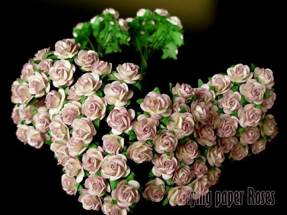 100 pcs. Mulberry Paper Rose Flower for Scrapbooking, Embellishment, Wedding Decor, Card Making and Art Projects!