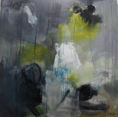 "Jennifer Rivera, ""Rain Dance"",48"" X 48"", acrylic/graphite/pastel stick on canvas"