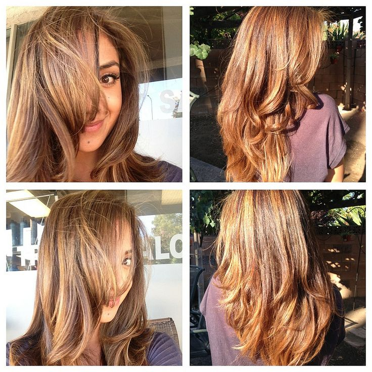 """""""My fabulous new go to girl did a caramel base with honey blonde highlights and for the cut she did long layers. Just a little snip, snip which is all I needed. What do you guys think?...."""""""