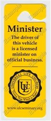 Universal Life Church Hanging Parking Placard