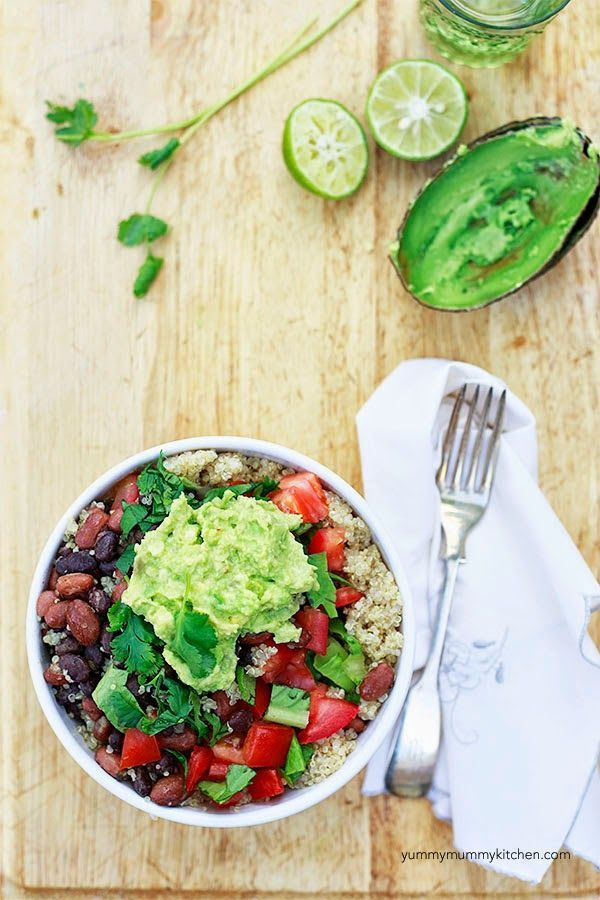 Quinoa Taco Bowls + Quick Guacamole Recipe on Yummy Mummy Kitchen is a healthy clean way to update your Taco Tuesday!  #vegan #vegetarian