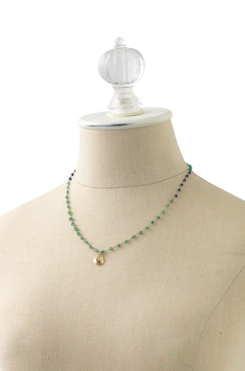 Regular Price $54    Rosary style construction of semi-precious stones form a one-of-a-kind strand on a gold plated brass chain with a textured teardrop gold plated brass pendant. Due to natural color variation in semi-precious stones, each necklace is absolutely unique.   •Green color way featur...