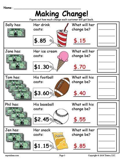 FREE Printable Making Change Money Worksheets - 2 Versions ...