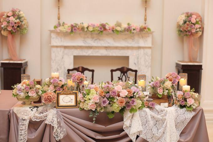 アンティーク調の素敵な装飾になりました  お花の色合い❤ 大人っぽさとレースでかわいらしさを表現し、お2人らしいとても素敵な色合いとバランスです!!!