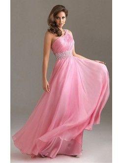Pink Princess Floor-length One Shoulder Dress