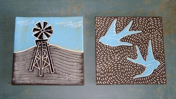 Tiles - windmill and blue bird