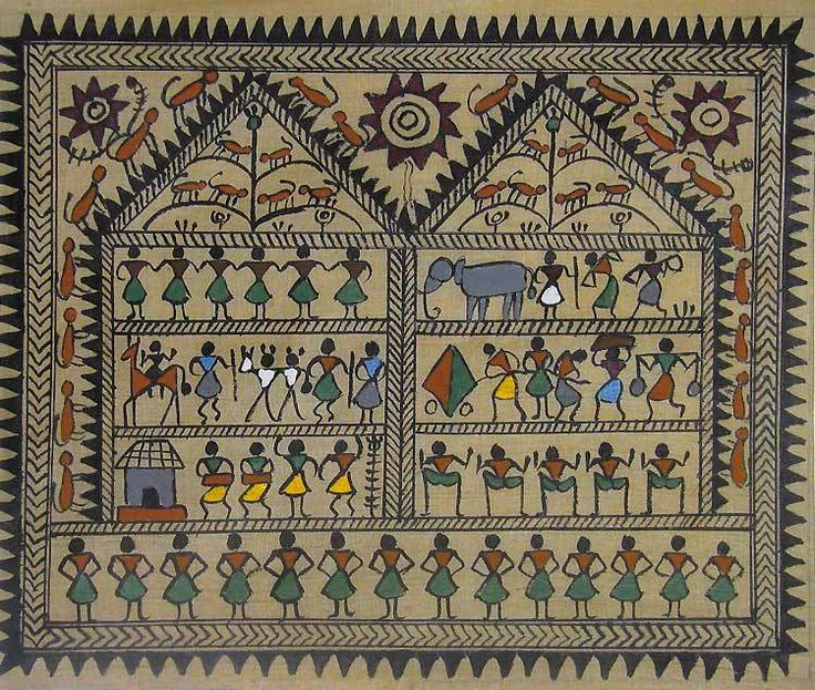 Warli Tribal Life - Work and Dance (Warli Painting from Maharashtra on Tussar Silk - Unframed))