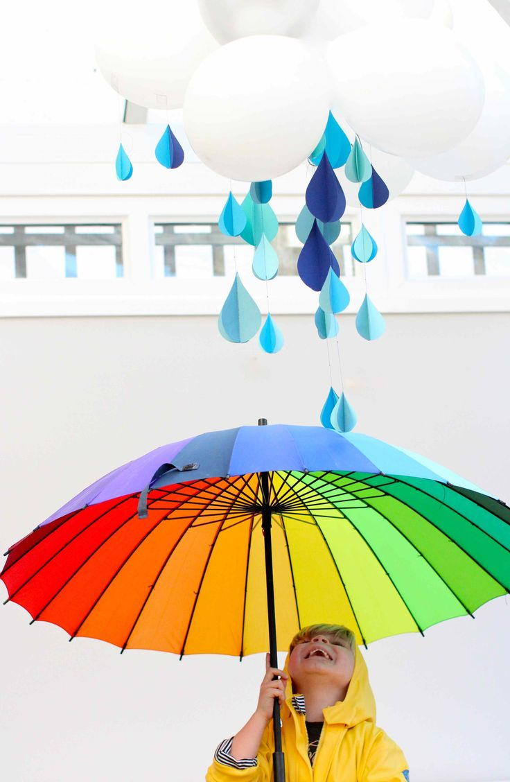 Defy those gray skies... Kate shows how to make cute paper raindrops and a balloon cloud.