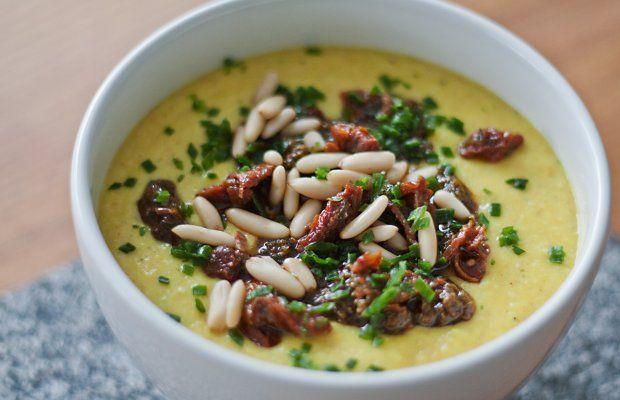 Hirse-Kichererbsen-Suppe mit Pesto Rosso   vegane Rezepte in Suppen