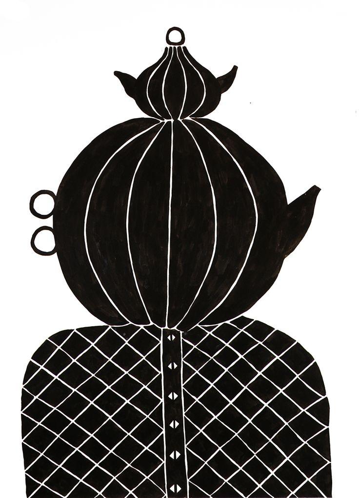 Pumpkin-grandmother, ink on paper, 50x70 cm www.anastasiasavinova.com