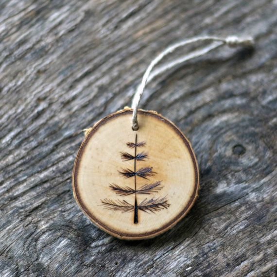 Jack Pine Tree Branch Christmas Ornament - Victorian - Primitive Tree - Rustic - Tree Branch Slice on Etsy, $10.00