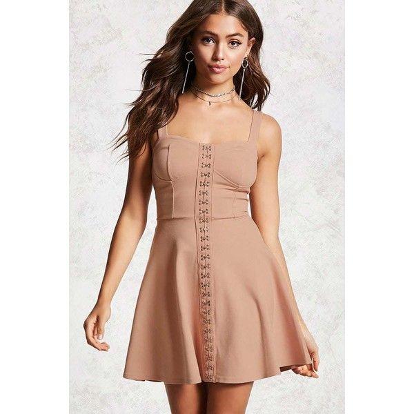 Forever21 Mini Skater Dress ($20) ❤ liked on Polyvore featuring dresses, blush, red skater dress, red mini dress, sweetheart dress, sweetheart neck dress and short dresses
