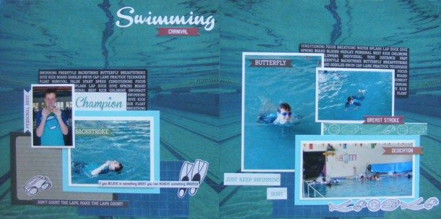 Swimming Carnival double page created by Leonie with Kaisercraft Game On! collection for My Scarppin' Shop.
