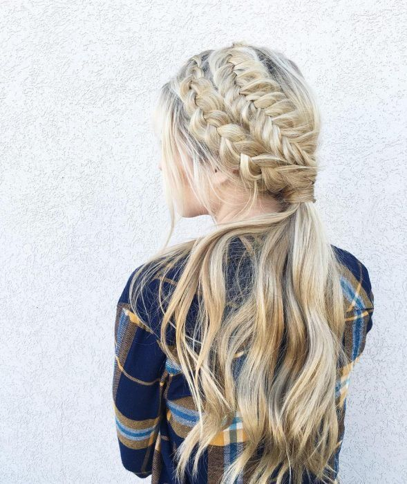 Chica con una corona en forma de trenza cola de pez #trenzas