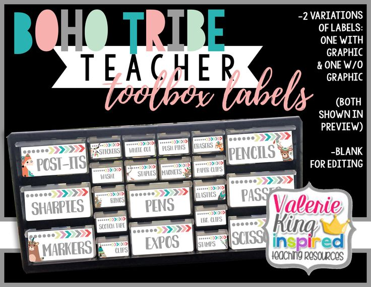 Boho Tribe Collection: Teacher Toolbox Labels