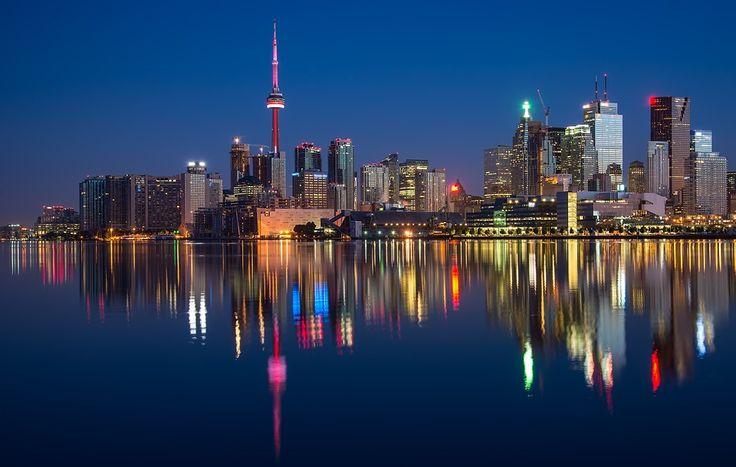 Edificios, Puede, Torre Cn, Canadá, Colorido, Noche