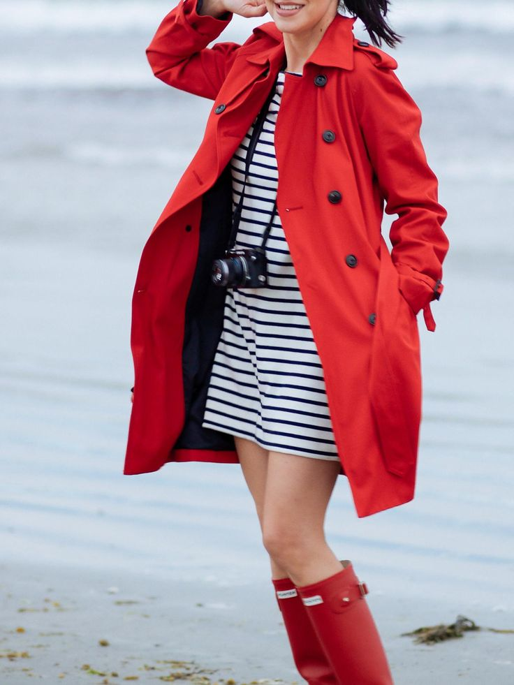 Striped sweater-dress, red trench coat, and red rainboots. So cute and cheery on a dull grey day