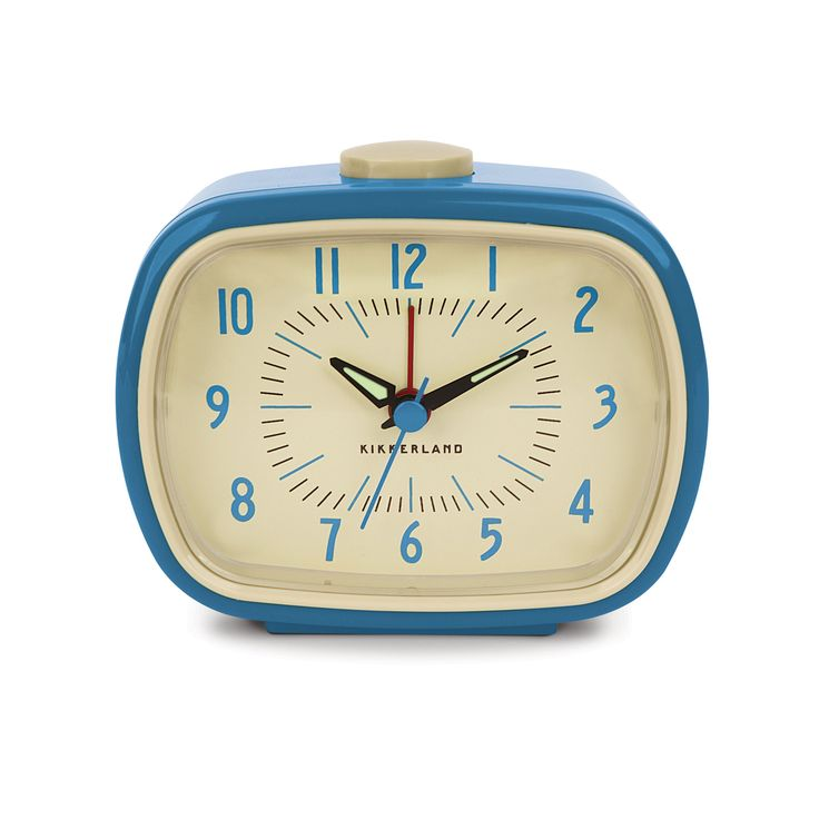 Add some retro charm to your bedside table with this fun alarm clock. It features glow-in-the-dark hands and a beep alarm to make sure you get to the office on time.  Find the Retro-Style Alarm Clock in Blue, as seen in the 24 Hour Clearance Sale: Day 2 Collection at http://dotandbo.com/collections/presidents-day-weekend-sale-2016-decor-clearance-day-2?utm_source=pinterest&utm_medium=organic&db_sku=KIK0007-blu
