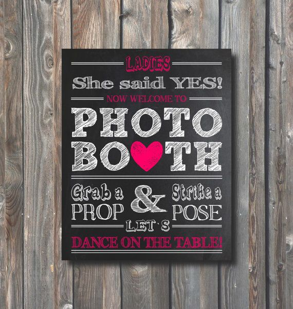 Bridal Shower Photo Booth Sign– Printable Bachelorette Party Photo Booth Sign–Chalkboard Sign-8x10 Photo Booth Sign–Instant Download
