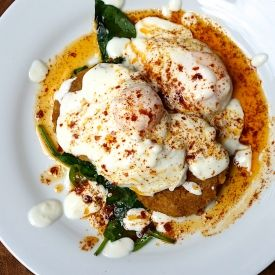 Eggs With Yoghurt, Spicy Butter And Chickpea Fritters [cooksophiecook]