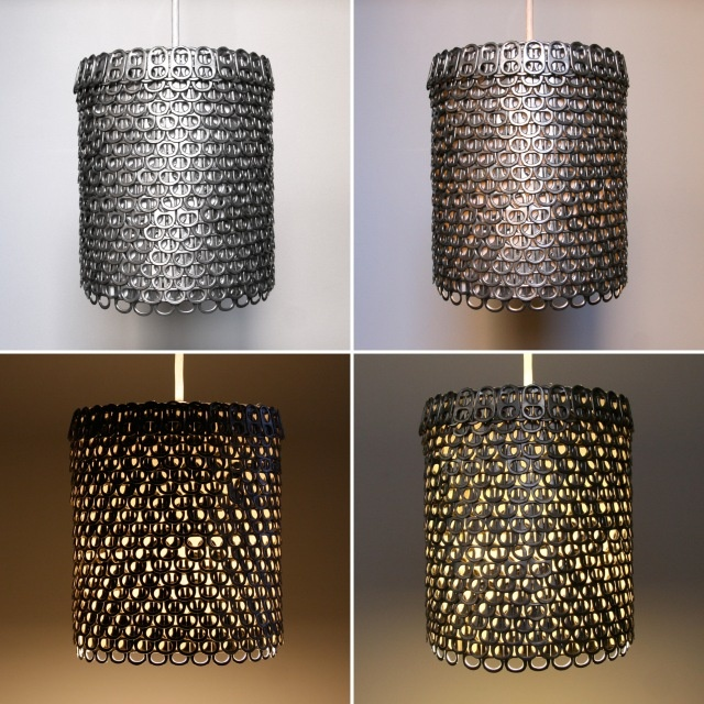 Soda can pop top pendant light!  I love this too!