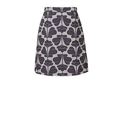 Orla Kiely | UK | clothing | Skirts & Trousers | Damask Flower Jacquard Skirt (16SWDMJ643) | chambray