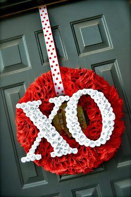 Little Birdie Secrets: valentine's wreath with spiral rose letters {tutorial}