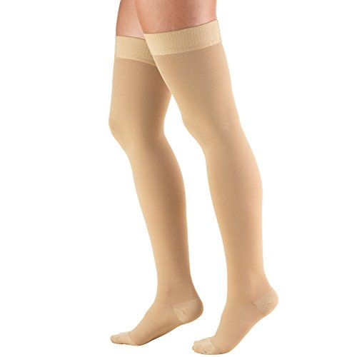 Truform Closed Toe, Thigh High 20-30 mmHg Compression Stockings, Dot Top, Beige, X-Large  Truform Model 8868 for men and women is a firm, graduated compression stocking created with therapeutic comfort in mind for both men and women  Ideal for treatment of varicose and spider veins, diabetic support, long flights, nurses, maternity, and general swelling or inflammation of the legs and feet  Closed toe design with roomy toe pocket does not compress toes and adds increased breathability ...