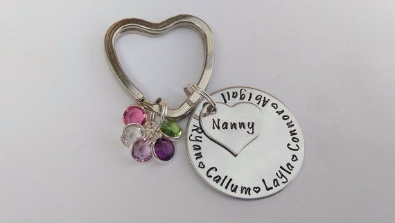 Personalised circle heart name keyring keychain with birthstone cluster - Hand stamped - Nan Nanny Mum Mummy Grandma Granny Mom present gift