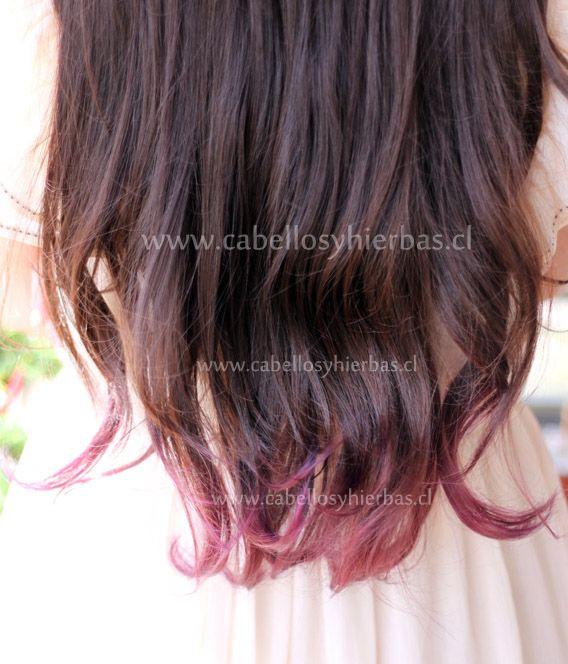 Resultado de imagen para puntas moradas claras en cabello castaño corto