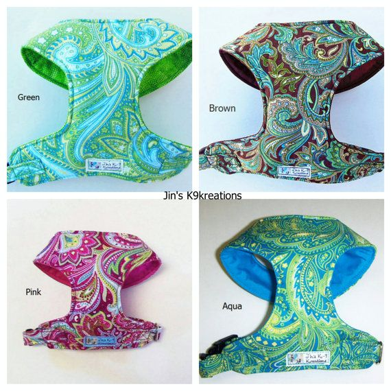 Paisley Comfort Soft Dog Harness Made to order  by JinsK9Kreations, $25.00