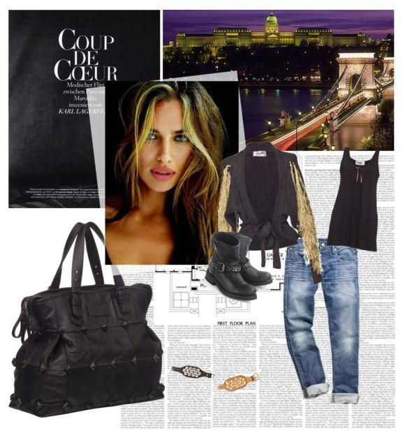 Ourstyle on Polyvore    Cardigan - Souffle  Bag - Anh Tuan  Top - Souffle  Bracelets - Anh Tuan