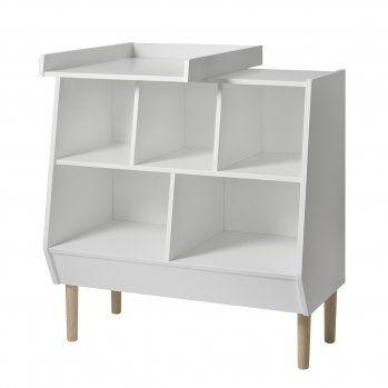 Moderne, offene Wickelkommode weiß/natur B90cm