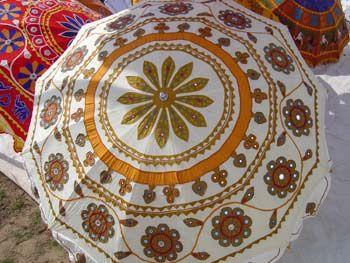 Decorative indian Umbrella Mustard Floral