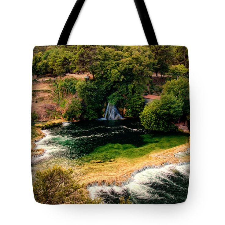 "Waterfalls and Lagoons Tote Bag 18"" x 18"" by Lucie Rovna"