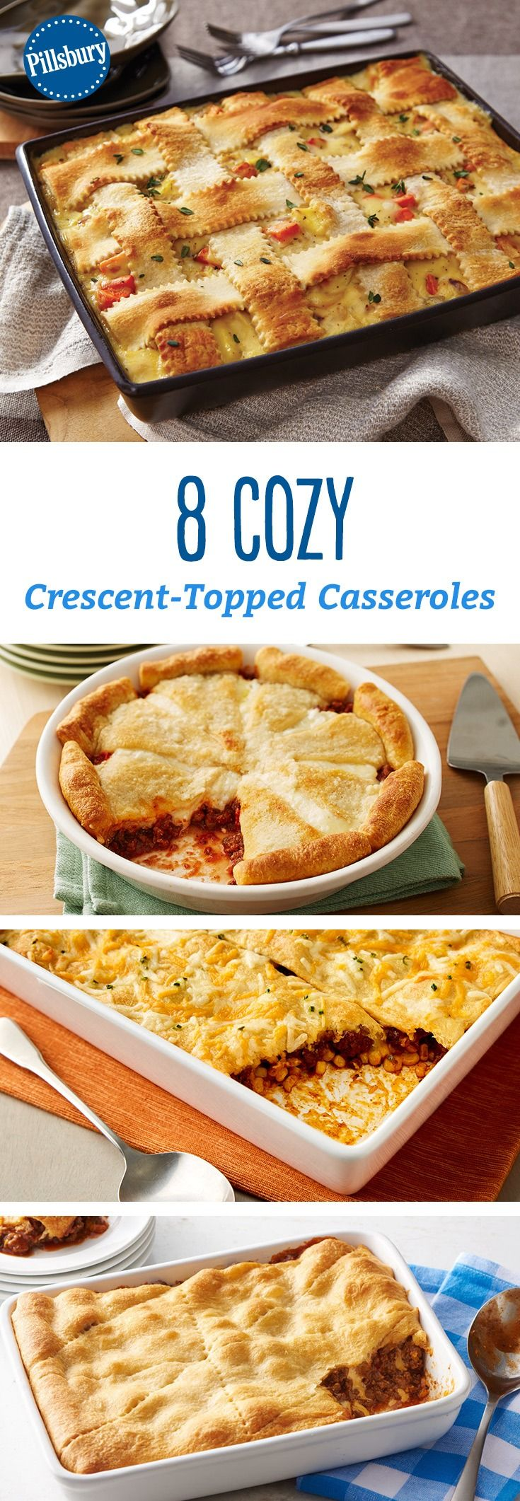 Nothing says cozy like a piping hot casserole topped with flaky crescent dough. There's a dinner bake for everyone—from cheesy chicken and broccoli to BBQ beef.