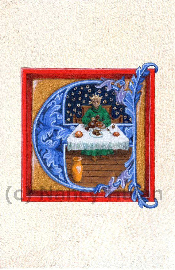Medieval Illuminated Letter E    This is an archival 4 x 6 print of my original artwork, painted in acrylics on goatskin parchment. It shows a